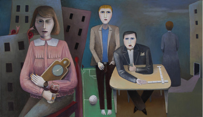 Oil Paintings by Giorgi Jamburia Titled Family. Children / Family Paintings