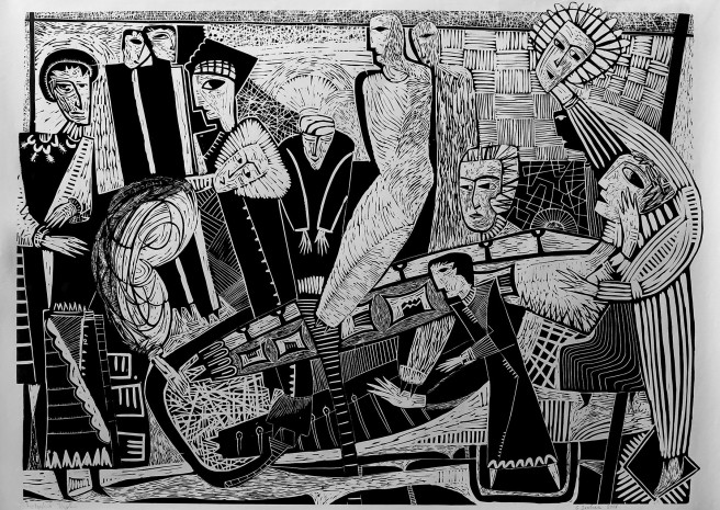 Black & White, Linocuts, Watercolor Paintings by Giorgi Jamburia Titled Maundy Thursday . Religion Paintings