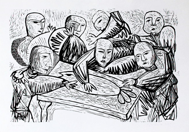 Linocuts Prints by Giorgi Jamburia Titled Fish Men. Abstract, Animal / Birds, Portrait / People Prints