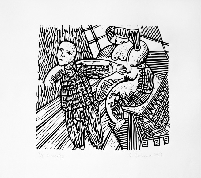 Linocuts Prints by Giorgi Jamburia Titled Passion. Nude / Erotic Prints