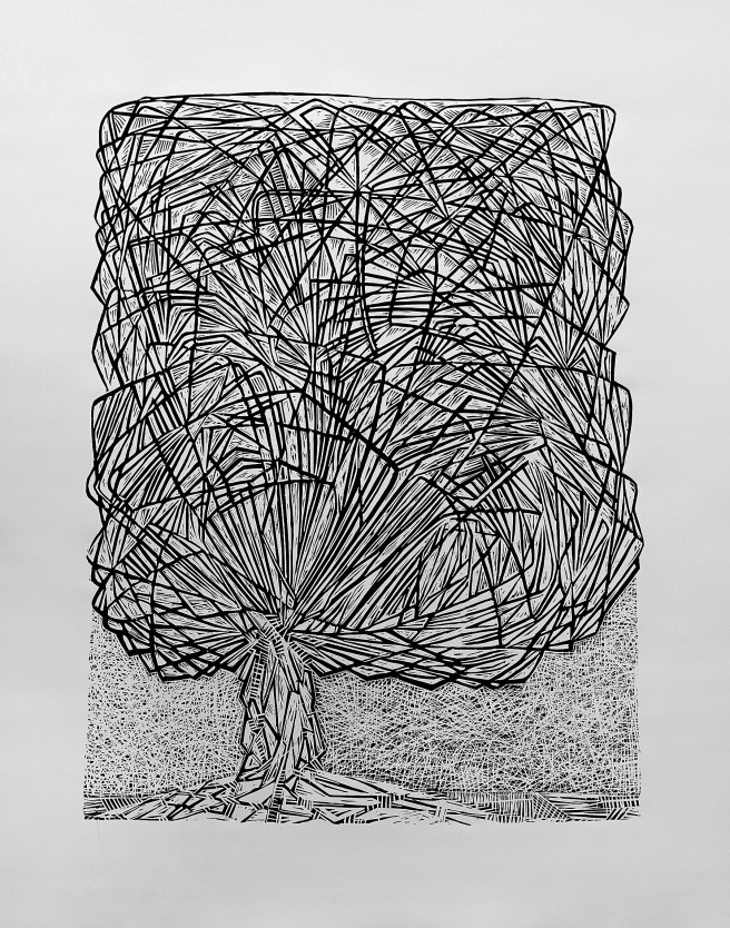Linocuts Prints by Giorgi Jamburia Titled Tree. Landscape Prints
