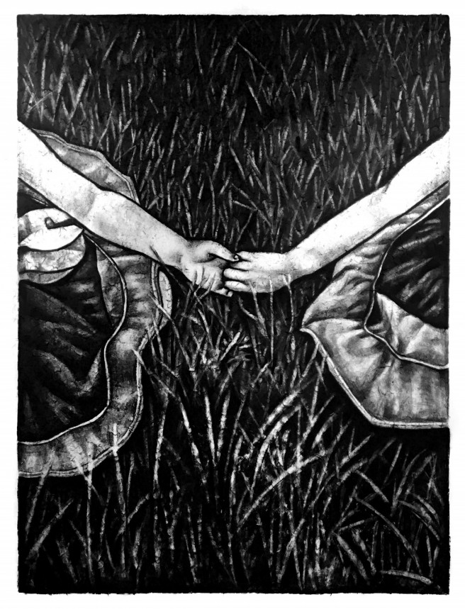 Charcoal Drawings by Jimin Lim Titled A Link between Two Hands. Children / Family, Portrait / People Drawings