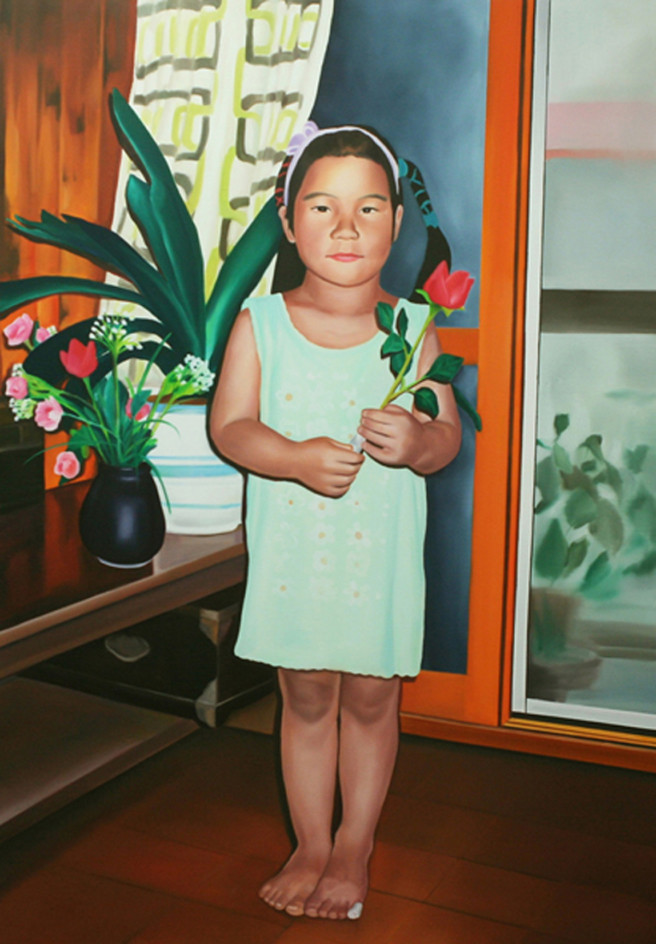 Oil Paintings by Jimin Lim Titled The Flower and The Bandage. Children / Family, Portrait / People Paintings