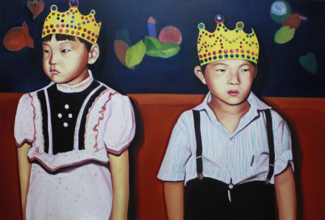 Oil Paintings by Jimin Lim Titled Two Different Thought. Children / Family, Portrait / People Paintings