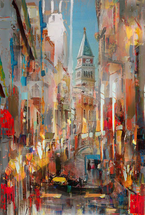 Digital, Manipulated, Photograph Digital Art by Joe Ganech Titled A moment in Venice. Abstract, Landscape, Architecture / Cityscape Digital Art