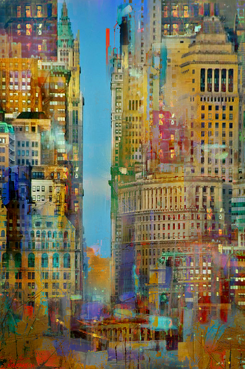 Digital, Manipulated, Photo, Photograph Digital Art by Joe Ganech Titled A view of NY. Landscape, Architecture / Cityscape Digital Art