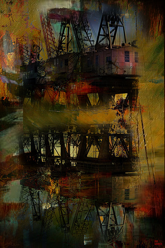Digital, Manipulated, Mixed Media, Photo, Photograph Digital Art by Joe Ganech Titled Abandoned cranes. Landscape, Architecture / Cityscape, Science / Technology, Transportation Digital Art