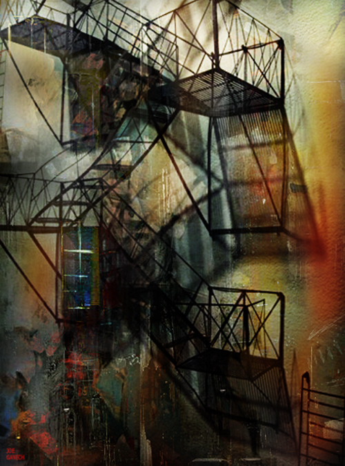 Digital, Manipulated, Photo, Photograph Digital Art by Joe Ganech Titled Emergency stairs. Landscape, Architecture / Cityscape Digital Art