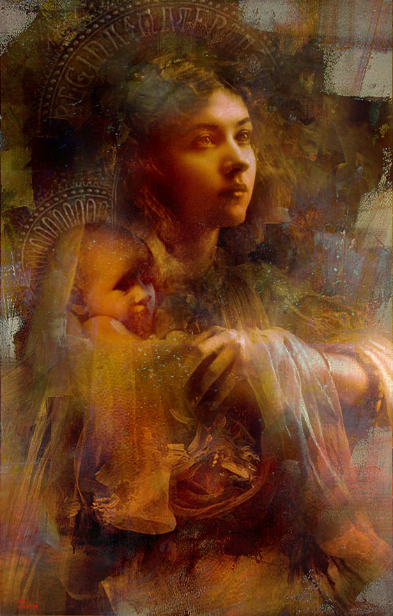 Digital, Manipulated, Mixed Media, Photo, Photograph Digital Art by Joe Ganech Titled In the arms of Mary. Love / Beauty, Portrait / People, Religion Digital Art