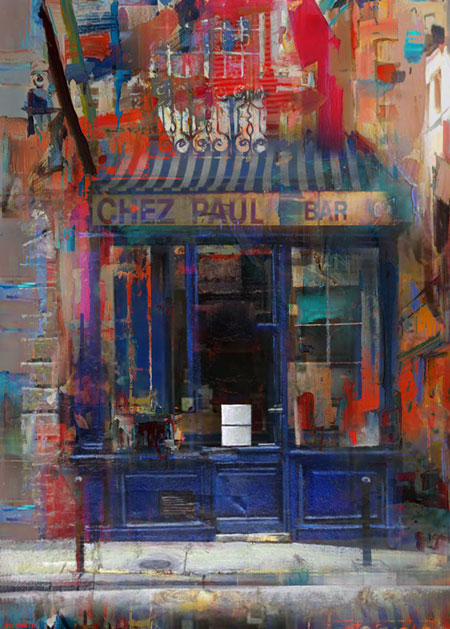 Digital, Manipulated, Photo, Photograph Digital Art by Joe Ganech Titled Le bistrot de Paris . Landscape, Architecture / Cityscape Digital Art