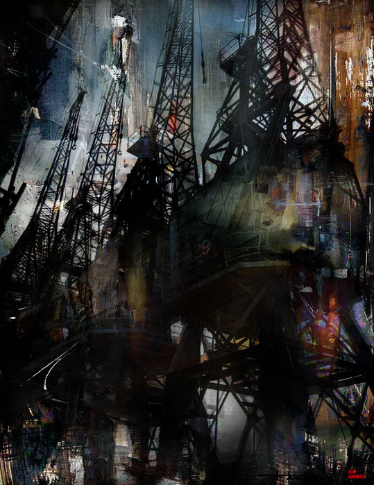 Digital, Manipulated Digital Art by Joe Ganech Titled Night dock. Landscape, Architecture / Cityscape, Transportation Digital Art