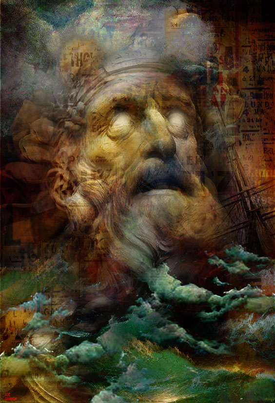Digital, Manipulated, Photo, Photograph Digital Art by Joe Ganech Titled The anger of Neptune. Abstract, Fantasy, Portrait / People, Religion Digital Art