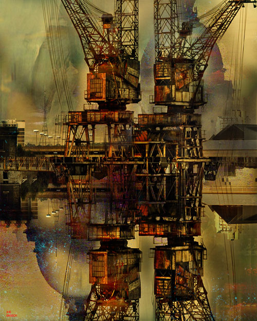 Digital, Manipulated, Photograph Digital Art by Joe Ganech Titled Two cranes. Landscape, Architecture / Cityscape, Science / Technology, Transportation, Others Digital Art