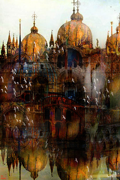 Digital, Manipulated, Mixed Media, Photograph Digital Art by Joe Ganech Titled Venise. Landscape, Architecture / Cityscape Digital Art