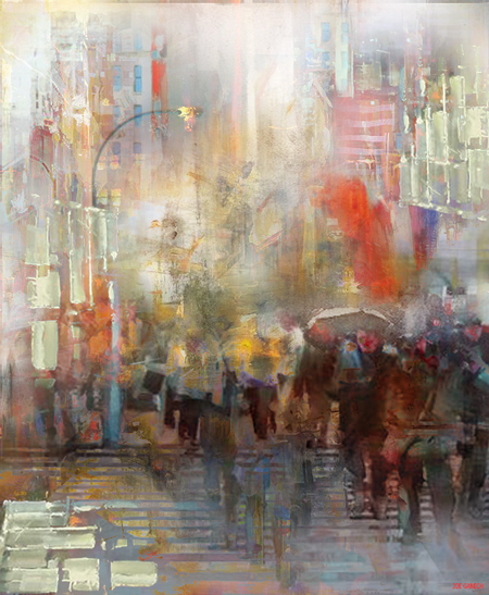 Digital, Manipulated, Photograph Digital Art by Joe Ganech Titled Walk on 5th Avenue. Landscape, Architecture / Cityscape Digital Art