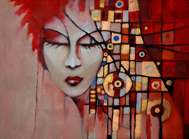 Acrylic, Color, Ink Paintings by Kevin Sabino Titled DIVA1. Fantasy, Love / Beauty, Portrait / People Paintings