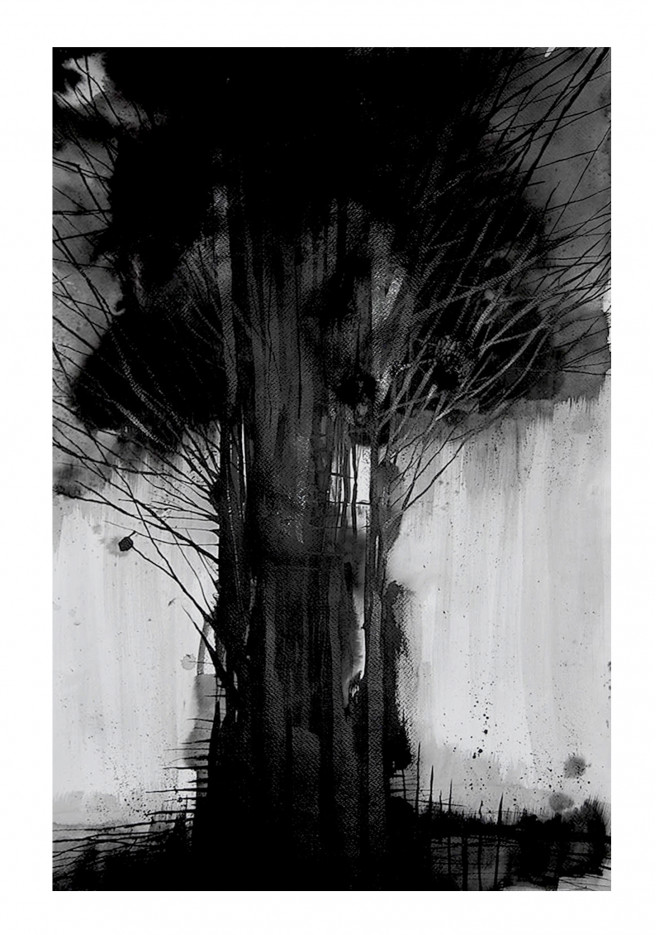 Ink Drawings by Kevin Sabino Titled TREE. Landscape, Nature Drawings