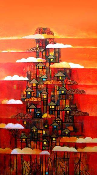 Ink, Mixed Media, Pen Paintings by Kevin Sabino Titled CLOUD VILLAGE. Abstract, Landscape, Fantasy, Nature Paintings