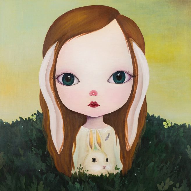 Acrylic, Color Paintings by L GALLERY Titled Rabbit Forest. Animal / Birds, Fantasy, Portrait / People Paintings