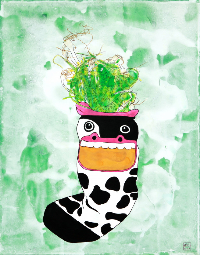 Acrylic, Ink, Mixed Media Paintings by Hyejin Lee Titled Green Onion : Food Socks Series III. Abstract Paintings