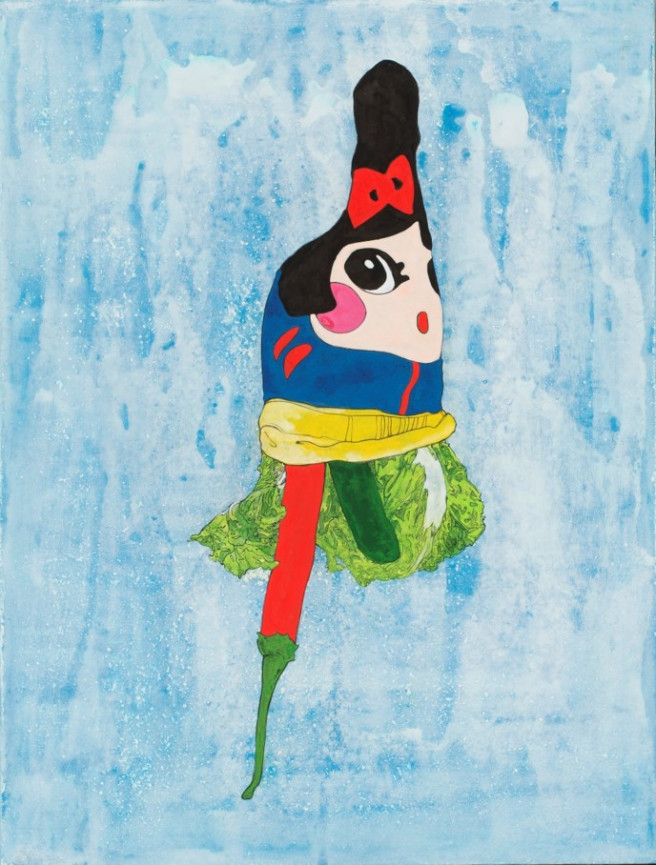 Acrylic, Ink, Mixed Media Paintings by Hyejin Lee Titled Snow White : Food Socks Series VII. Abstract, Food Paintings
