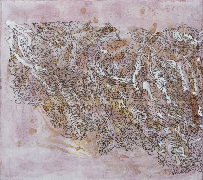 Acrylic, Ink, Mixed Media Paintings by Hyejin Lee Titled The Map on a Cabbage II - Part 2 : Walk through the memories without name . Abstract, Food Paintings