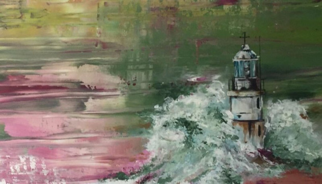Acrylic Paintings by Leticia Marcos Titled Lighthouse. Abstract, Beach / Seascape, Nature Paintings