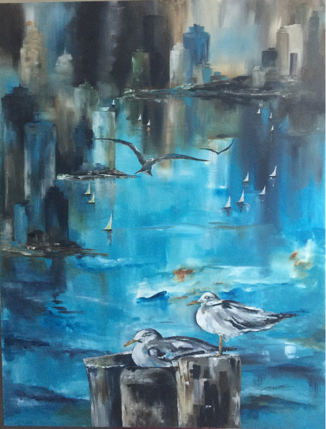 Acrylic Paintings by Leticia Marcos Titled mean while. Landscape, Animal / Birds, Architecture / Cityscape, Beach / Seascape, Nature Paintings