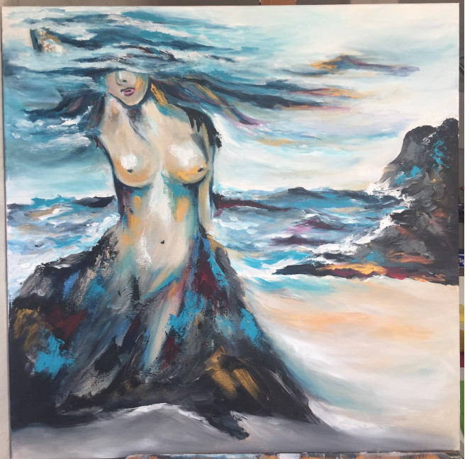Acrylic Paintings by Leticia Marcos Titled Love and transformation. Love / Beauty, Nature, Nude / Erotic, Portrait / People Paintings