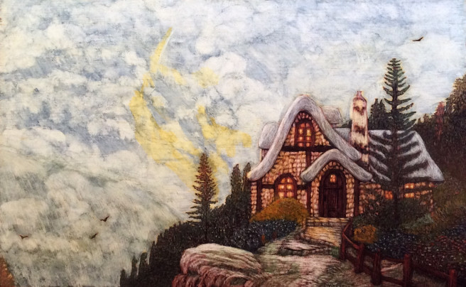 Others Paintings by Martin Ashkhatoev Titled House on the edge of the earth. Landscape, Nature, Others Paintings