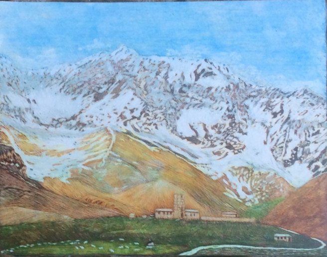 Others Drawings by Martin Ashkhatoev Titled We and the mountains. Landscape Drawings