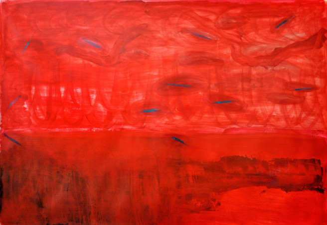 Oil Paintings by Mina Ham Titled A Running Red. Abstract, Landscape, Fantasy Paintings