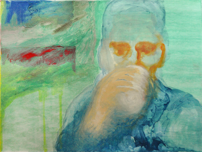Oil Paintings by Mina Ham Titled The Thinker II. Abstract, Portrait / People Paintings