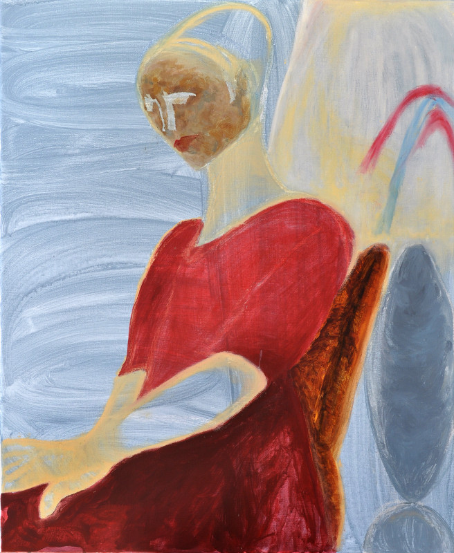 Oil Paintings by Mina Ham Titled Woman in Red. Abstract, Portrait / People Paintings