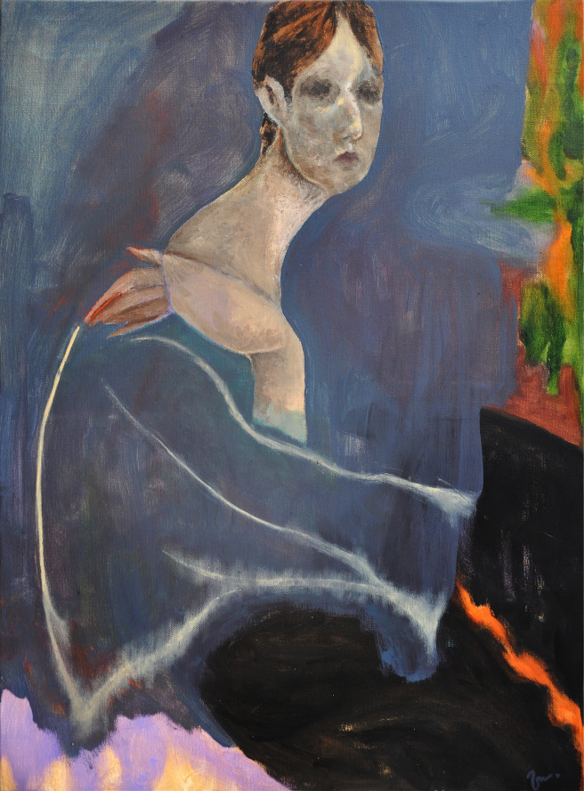 Oil Paintings by Mina Ham Titled Magnetism. Abstract, Portrait / People Paintings
