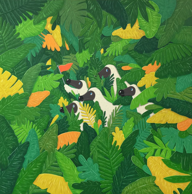 Gouache Paintings by Sunwoo Kim Titled Dodo Guide in the Jungle. Animal / Birds, Fantasy, Nature Paintings