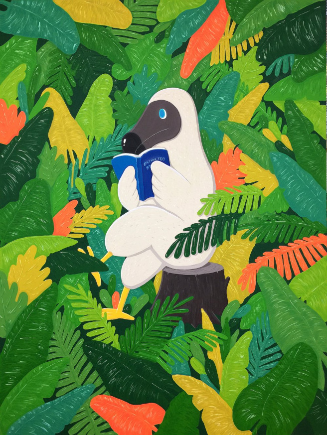 Gouache Paintings by Sunwoo Kim Titled Dodo Reading in the Jungle. Animal / Birds, Fantasy, Nature Paintings