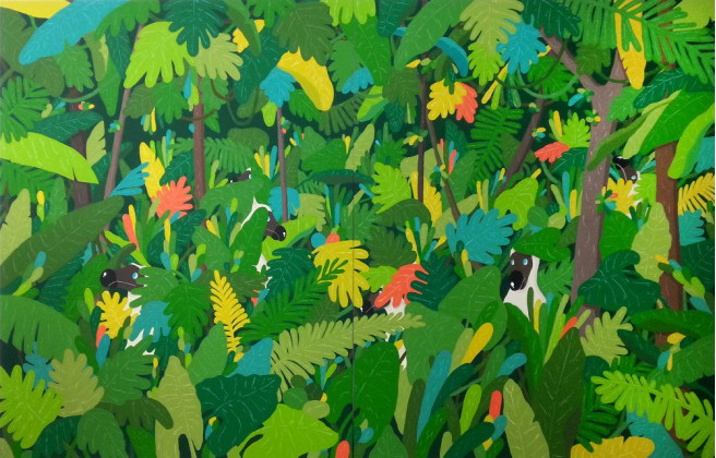 Gouache Paintings by Sunwoo Kim Titled Forest of Dodo. Animal / Birds, Fantasy, Nature Paintings