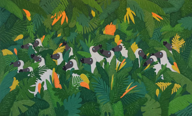 Gouache Paintings by Sunwoo Kim Titled Roaming Dodos. Animal / Birds, Fantasy, Nature Paintings