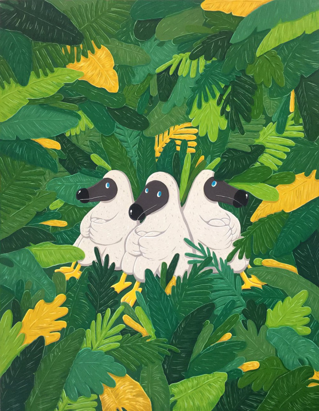 Gouache Paintings by Sunwoo Kim Titled Three Dodos in the Jungle. Animal / Birds, Fantasy, Nature Paintings