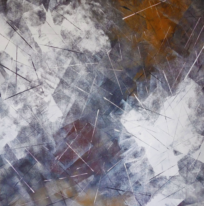 Acrylic Paintings by Susan Wooler Titled Midnight Hour. Abstract Paintings