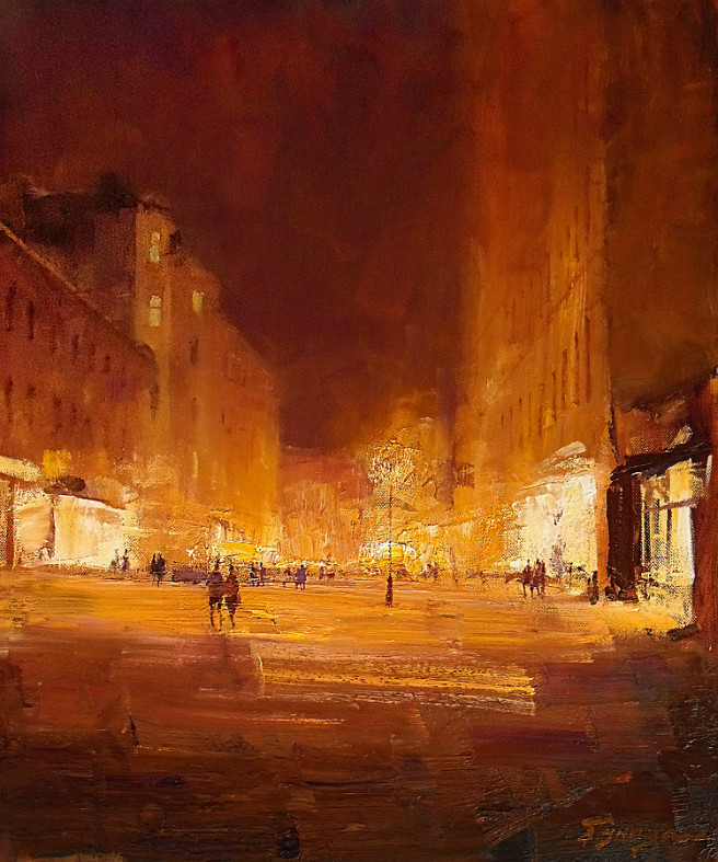 Oil Paintings by Vitaly Gunaza Titled Night walk. Architecture / Cityscape, Others Paintings