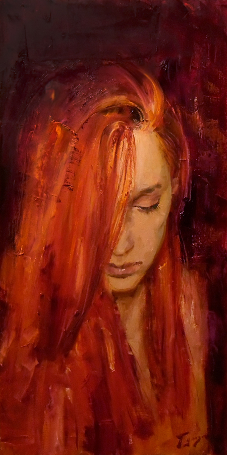 Oil Paintings by Vitaly Gunaza Titled Ginger. Love / Beauty, Portrait / People Paintings