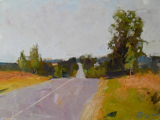 Oil Paintings by Vitaly Gunaza Titled Road to Rafolovo. Landscape Paintings