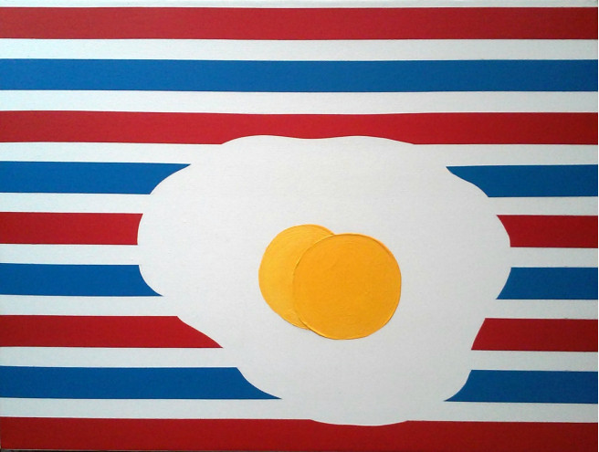 Mixed Media, Oil Paintings by Yuniel Diaz Casal Titled Fried Eggs in Love. Love / Beauty Paintings