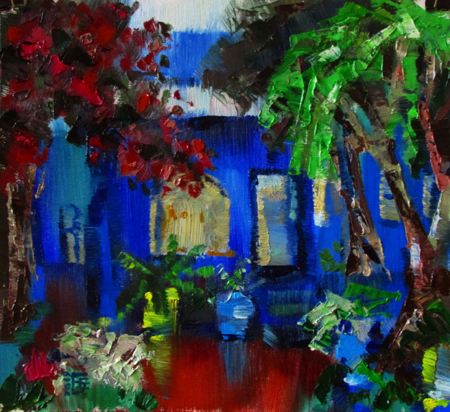 Oil Paintings by Kateryna Bortsova Titled Majorelle garden . Landscape, Architecture / Cityscape, Nature, Floral Paintings