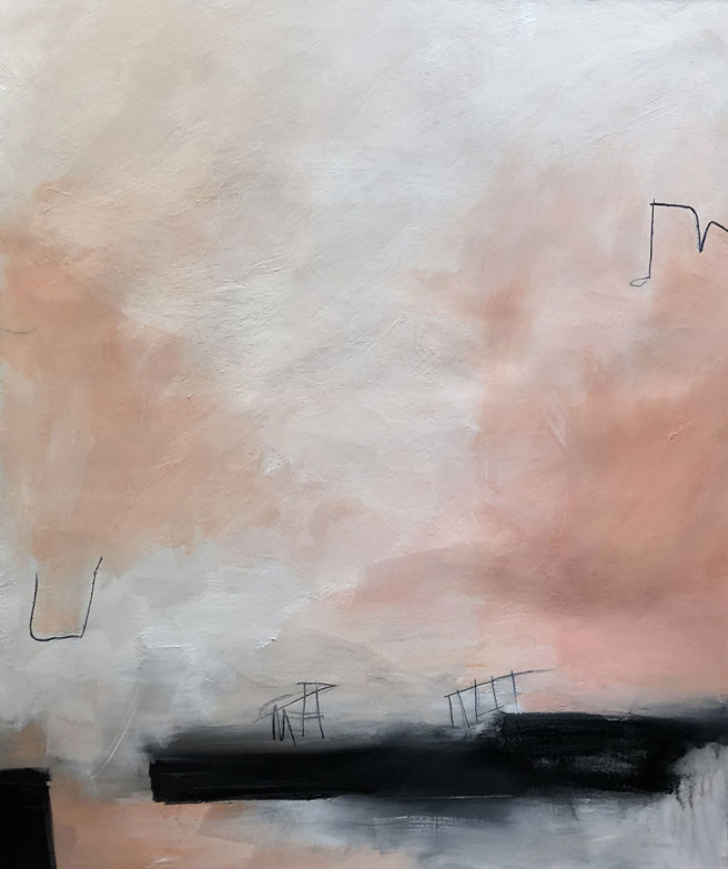 Charcoal, Mixed Media, Oil, Wax Paintings by Judy Hintz COX Titled Courage. Abstract Paintings
