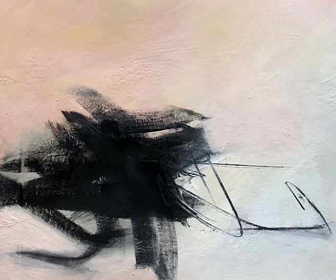 Charcoal, Mixed Media, Oil, Wax Paintings by Judy Hintz COX Titled Hope. Abstract Paintings