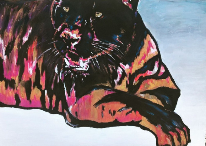Acrylic Paintings by emilie moreau Titled Pantheropard. Animal / Birds, Nature Paintings